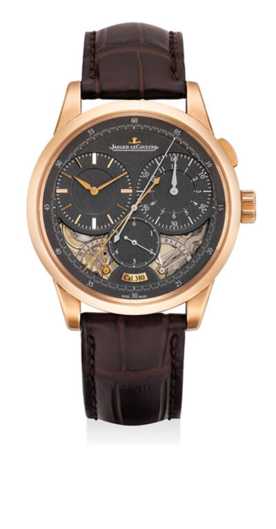 Jaeger LeCoultre, 'A very fine and attractive pink gold single-button chronograph wristwatch with dual power reserves and jumping seconds, with presentation box and guarantee certificate', 2016