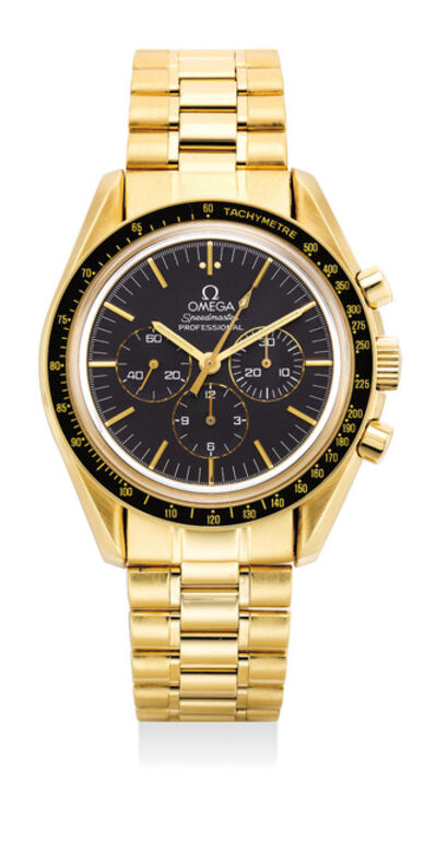 OMEGA, 'A fine and rare limited edition yellow gold chronograph wristwatch with tachymeter scale, bracelet, warranty and box, numbered 798 of a limited edition of 999 pieces', 1992