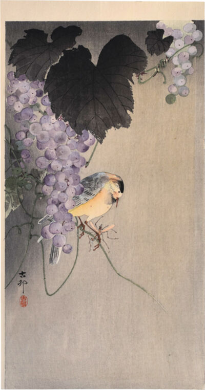 Ohara Koson, 'Willow Tit Sitting on a Grape Vine with Insect', ca. pre-1926