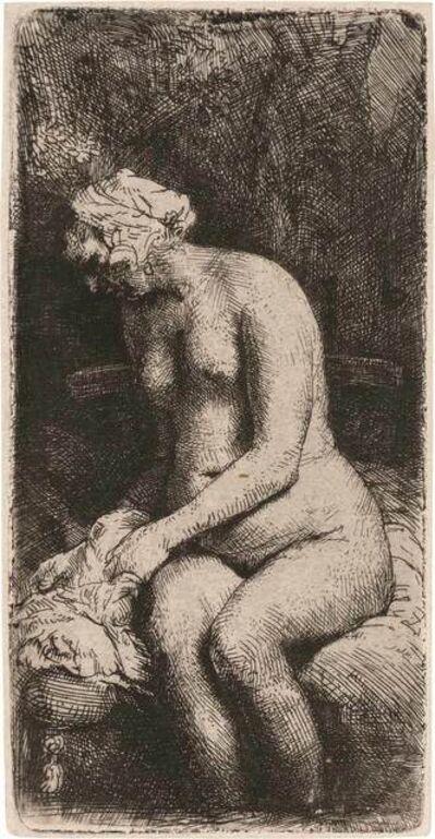 Rembrandt van Rijn, 'WOMAN BATHING HER FEET AT A BROOK (B., HOLL. 200; H. 298; NEW HOLL. 309)', 1658