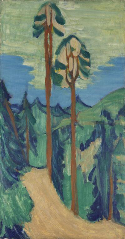 Ernst Ludwig Kirchner, 'Hohe Kiefern vor Hügellandschaft ', 1921-1923