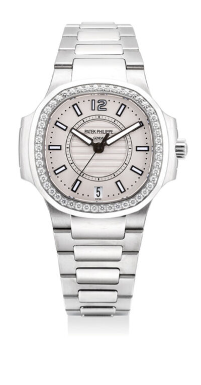 Patek Philippe, 'An attractive lady's stainless steel and diamond-set wristwatch with date, center seconds, bracelet, certificate and presentation box', Circa 2014