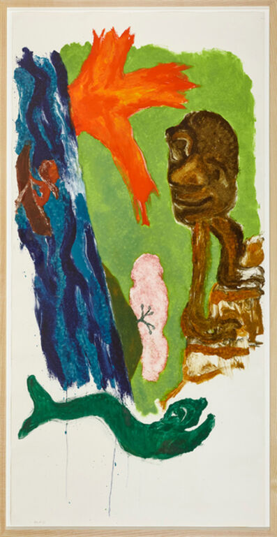 Ken Kiff, 'Green Fish, Woman Rowing, Man Climbing Steps', 1996