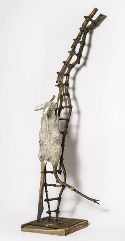 Elizabeth Jordan, 'Sculpture of Rabbit crawling up wood ladder: 'Talking about Hard Things'', 2014