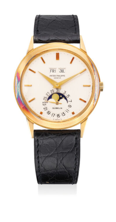 Patek Philippe, 'A very fine, rare and important yellow gold perpetual calendar wristwatch with moonphases, retailed by Gübelin', 1977