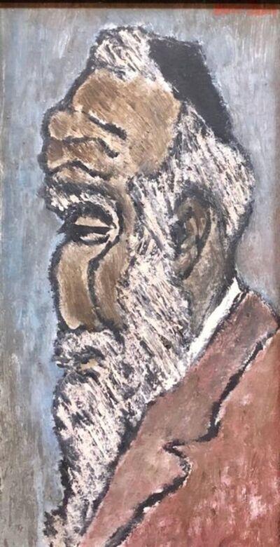 """Ben-Zion Weinman, 'Modernist Judaica Oil Painting """"Old Jew"""" Jewish Rabbi at Prayer', 1940-1949"""