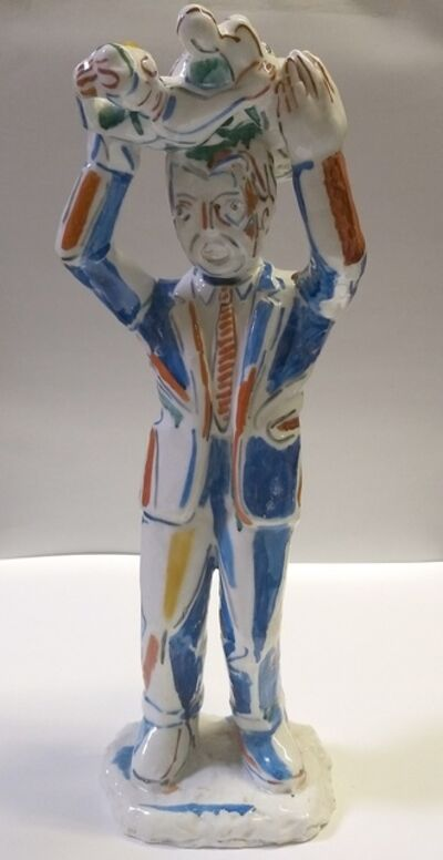 Viola Frey, 'Untitled #4 (Suited Man Holding Statue Over Head), A La Manufacture de Sevres Series', 1987