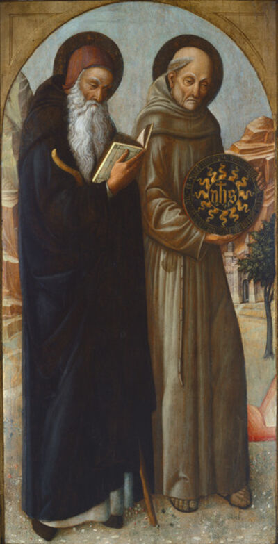 Jacopo Bellini, 'Saint Anthony Abbot and Saint Bernardino of Siena', 1459