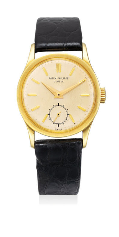 Patek Philippe, 'A fine and attractive yellow gold wristwatch with center seconds', 1954