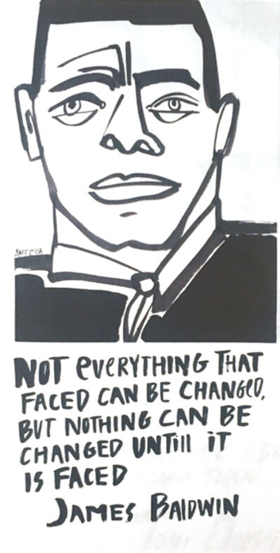 America Martin, 'James Baldwin #1 Framed', 2020