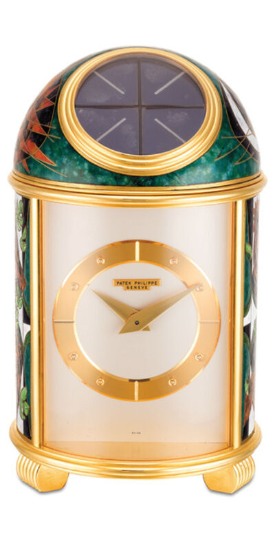 "Patek Philippe, 'An extremely fine and unique gilt brass solar power dome clock with cloisonné enamel scene ""Rooster"" by Derrcle, with Patek Philippe fitted presentation box', 1956"