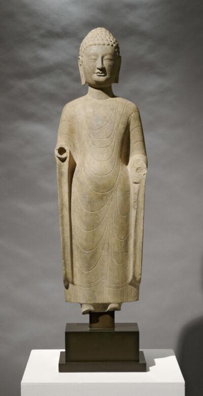 Unknown Asian, 'Limestone Standing Buddha', 550-577