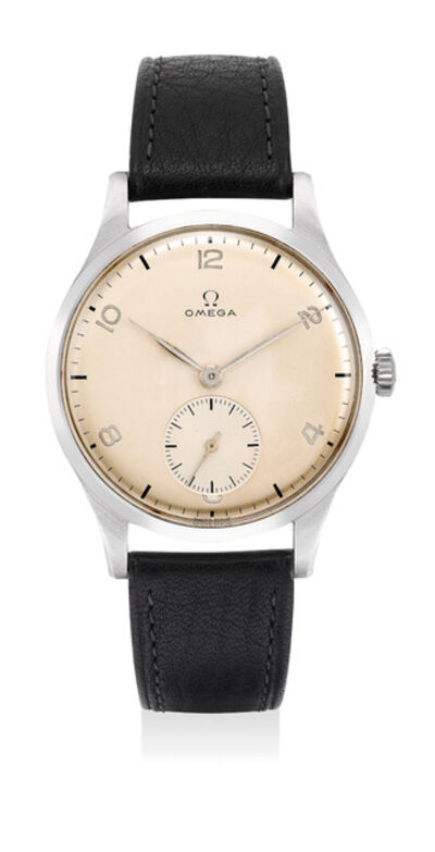 OMEGA, 'A very fine and attractive stainless steel wristwatch with small center seconds and Arabic numerals', 1947