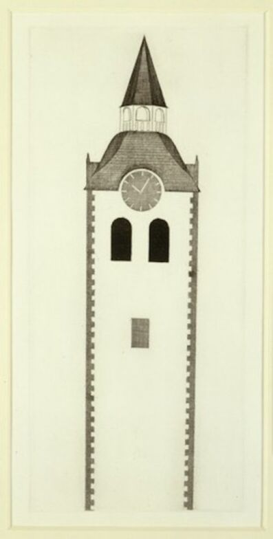 David Hockney, 'The Church Tower and the Clock from Illustrations for Six Fairy Tales from the Brothers Grimm', 1969