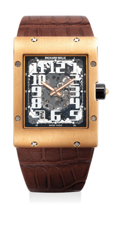 Richard Mille, 'A large, fine and attractive pink gold rectangular skeletonized wristwatch with date, variable geometry rotor, warranty and box', Circa 2010