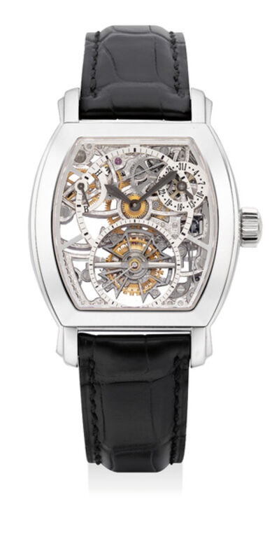 Vacheron & Constantin, 'An extremely fine and rare platinum skeletonized tourbillon wristwatch with date, power reserve indicator, certificate and box', 2008