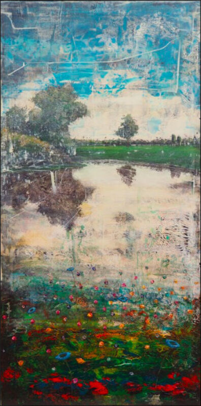 Jernej Forbici, 'lue Flowers in Green', 2019