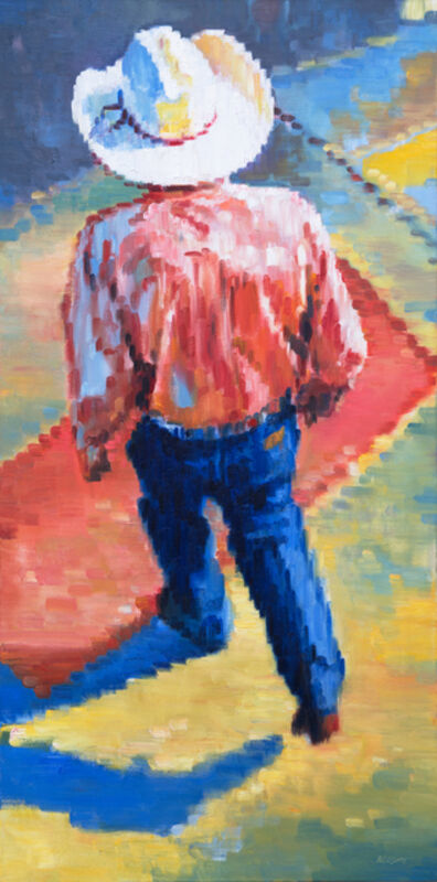 Warren Keating, 'Cowboy Walking in Santa Fe Sunset', 2018