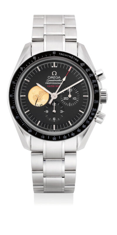 OMEGA, 'A highly attractive limited edition platinum chronograph wristwatch with tachymeter scale, bracelet, international warranty and presentation box, made to commemorate the 40th anniversary of Apollo XI mission, numbered 67 of a limited edition of 69 pieces', 2009