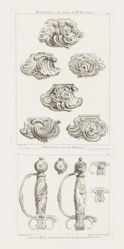 Juste-Aurèle Meissonnier, 'Differents Desseins de Tabatieres, première planche (Different Designs for Snuff Boxes)', 1748