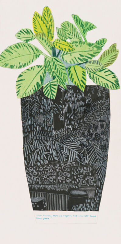 Jonas Wood, 'Black Landscape Pot with Green Plant', 2014