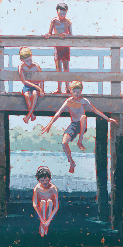 """Paul Norwood, '""""Boys of Summer"""" Acrylic impasto painting of four boys jumping into deep blue water', 2019"""