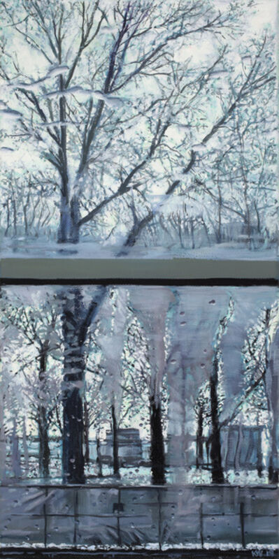 Karen Woods, 'Trees from the bus, with frost', 2019