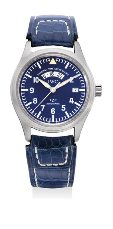 IWC, 'A very fine, rare and attractive platinum dual time wristwatch with center seconds, date, blue dial, guarantee and box, numbered 131 of a limited edition of 500 pieces', Circa 1998