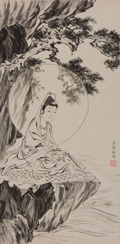 Attributed to Pu Ru, 'Guanyin seated beneath pine'