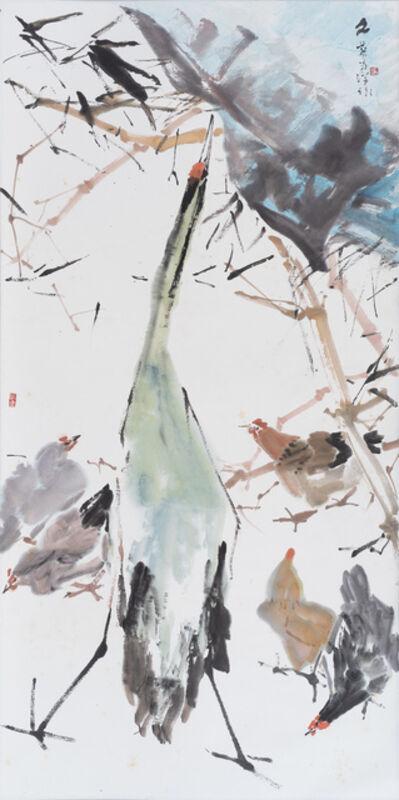 Chen Wen Hsi, 'Egret and Chickens', 1984