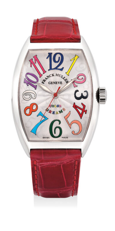 Frank Muller, 'A attractive white gold wristwatch with sweep center seconds and multi-colored numerals', 1990