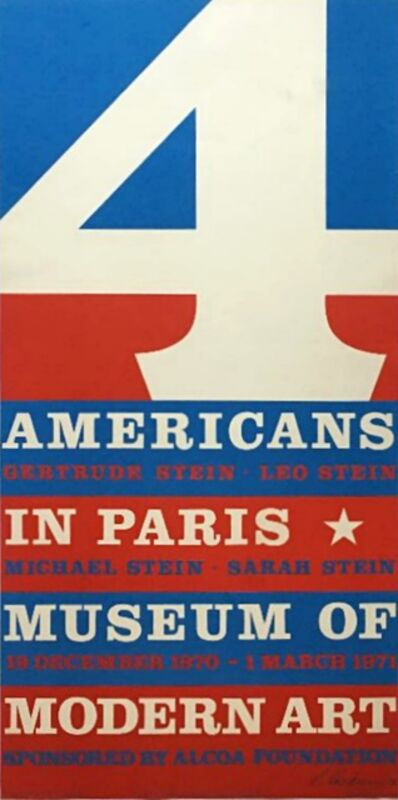 Robert Indiana, '4 Americans in Paris, The Collections of Gertrude Stein and her Family (Hand Signed)', 1970