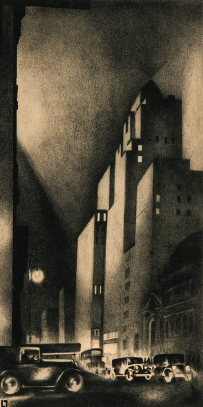 Louis Lozowick, '57th Street, alternatively titled Rubber Center', 1929