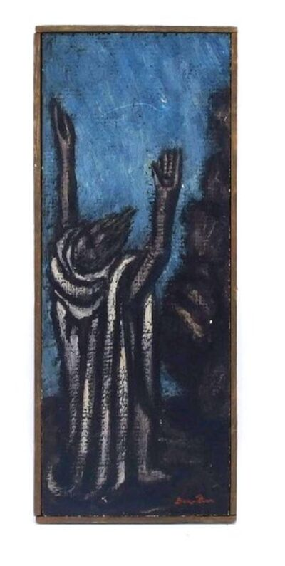 Ben-Zion Weinman, 'The Prophet, Modernist Judaica Oil Painting Biblical Jewish Rabbi at Prayer', 1950-1959