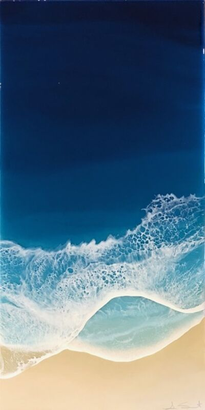 """Anna Sweet, '""""Sea of Stars"""" Mixed Media painting of aerial view of deep blue ocean', 2019"""