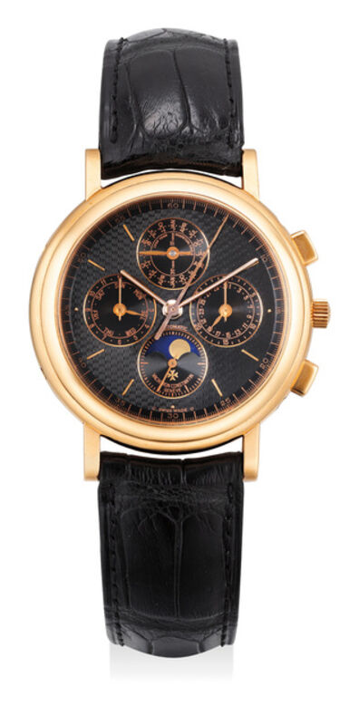 Vacheron & Constantin, 'A fine and very attractive pink gold perpetual calendar chronograph wristwatch with moon phase and black dial', 1995