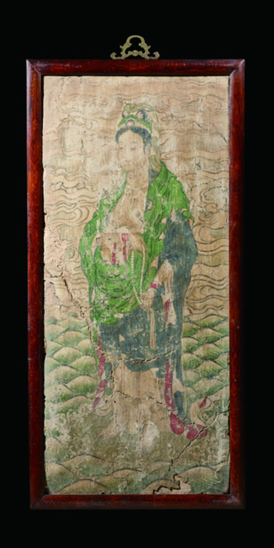 Unknown Chinese, 'A Polychrome Fresco Fragment of Rectangular Form Painted with a Figure of Guanyin Standing on a Leaf-form Base Set 宋 西夏 灰泥彩繪飛觀音壁畫殘部', China: Song Xi Xia Dynasty (1038-1227)