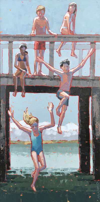 """Paul Norwood, '""""Freefall"""" Impasto painting of kids jumping from bridge into blue water', 2019"""