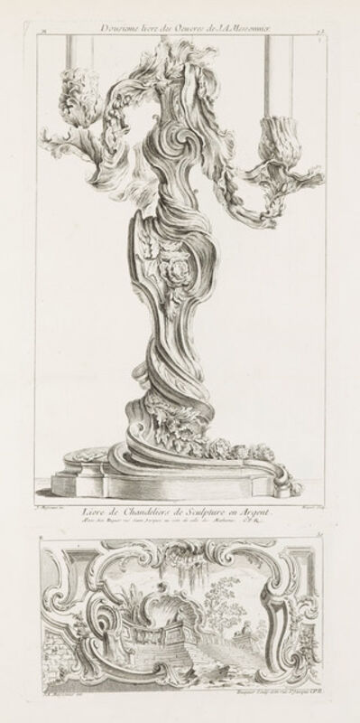 Juste-Aurèle Meissonnier, 'Dousieme livre des oeuvres de J.A. Meissonnier/Livre de Chandeliers de Sculpture en Argent', 1740