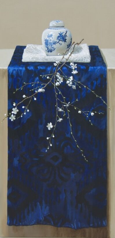 Sasja Wagenaar, 'Ultramarine with white silk, Chinese pot and blossom', 2019