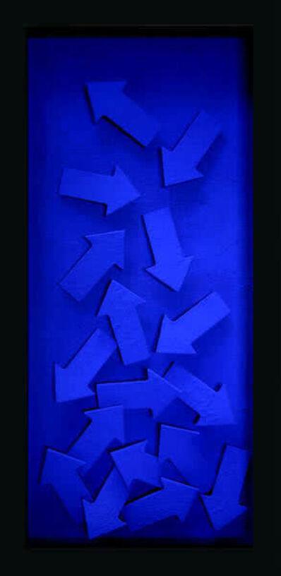 Thaddäus Labisch, 'Chaos, Pfeile Farbpigmente auf Holz (blau)', 2012