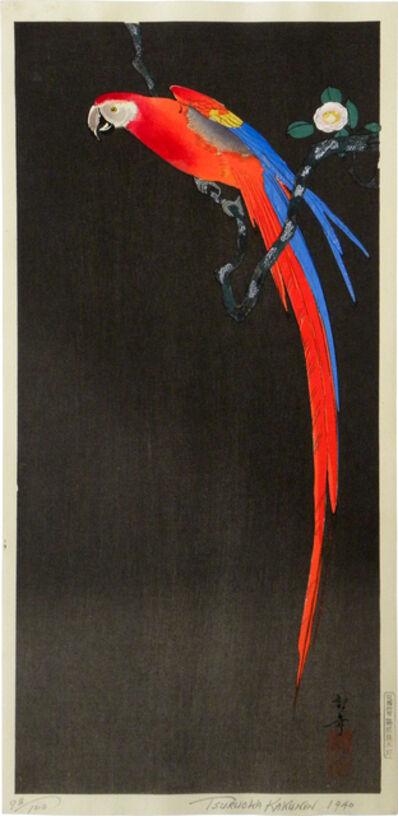 Kakunen Tsuruoka, 'Parrot on a Camellia Branch', 1940