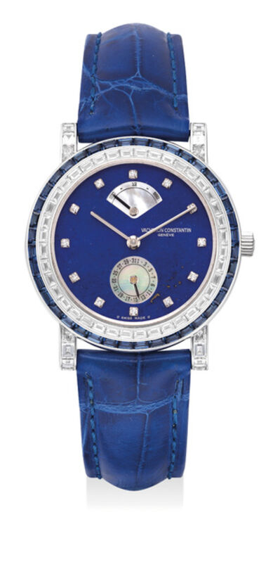 Vacheron & Constantin, 'A very fine and elegant lady's white gold wristwatch with diamond and sapphire-set bezel, diamond-set numerals, lapis lazuli and mother-of-pearl dial, date, power reserve, International Warranty and presentation box', 1997