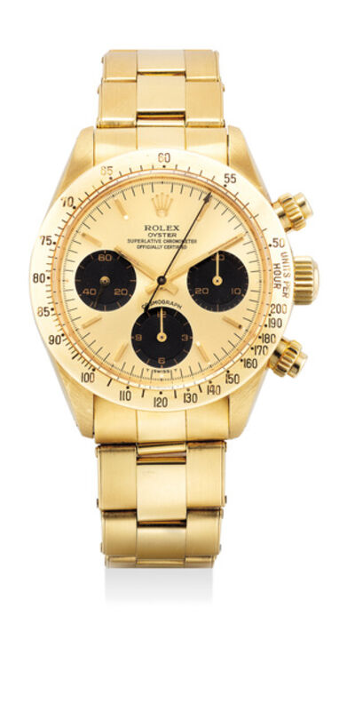 Rolex, 'A very attractive and rare yellow gold chronograph wristwatch with gold dial and bracelet', 1984