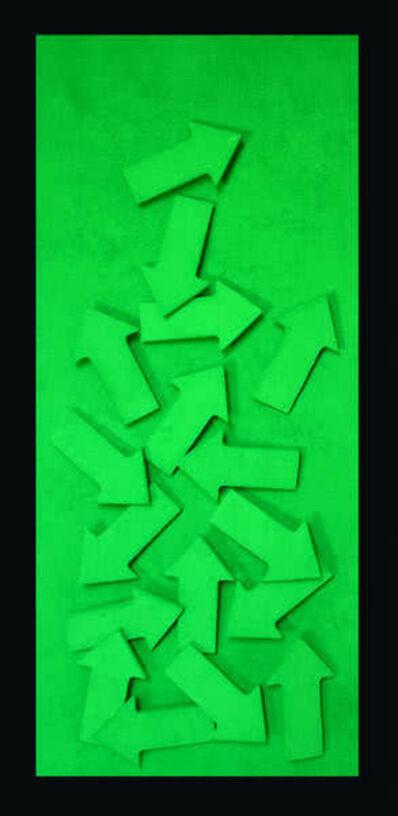 Thaddäus Labisch, 'Chaos, Pfeile Farbpigmente auf Holz (grün)', 2012