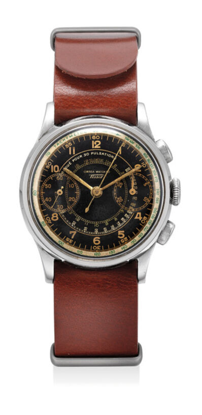 "OMEGA, 'A fine and attractive stainless steel chronograph wristwatch, with black gilt, signed ""Omega"" and ""Tissot""', Circa 1940"