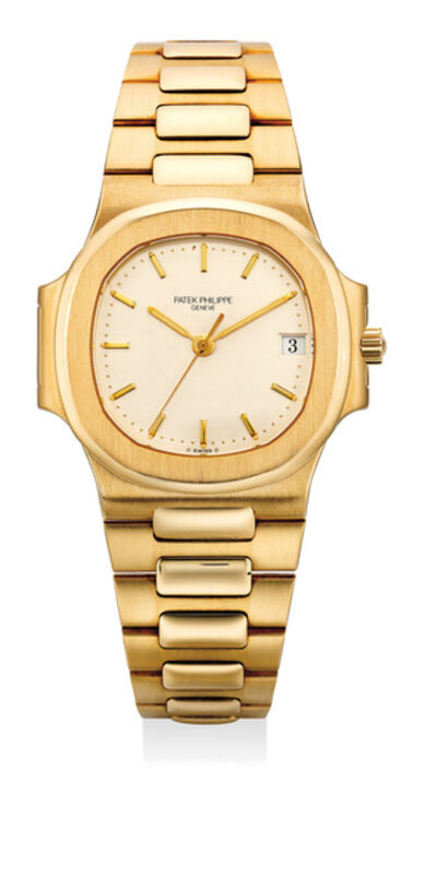 Patek Philippe, 'A fine and rare yellow gold wristwatch with white dial, date, sweep center seconds and bracelet', 1997