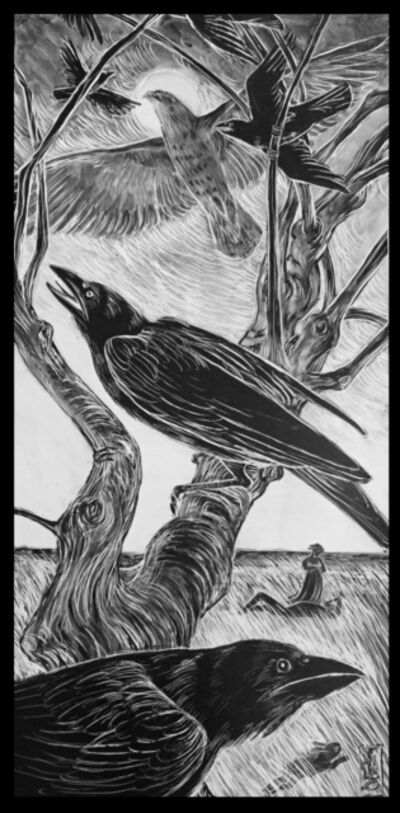 Ellen LeBow, 'Hawk & Crow, Sleeping Man', 2019