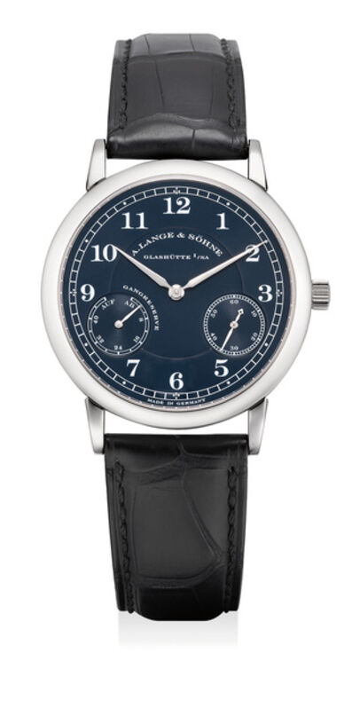 A. Lange & Söhne, 'An attractive white gold wristwatch with power reserve and blue dial', Circa 2002