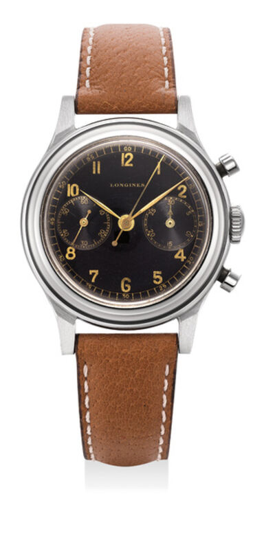 Longines, 'A rare and very fine stainless steel flyback chronograph wristwatch with black glossy dial and gilt lettering', 1948
